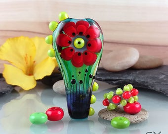 Red Flower (shiny) - lampwork bead Set  made by me Michou P. Anderson - Brand/Label: Sonic & Yoko
