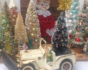 sale christmas vintage white tonka jeep snowplow green decorated christmas tree mantel decor holiday - Decorated Christmas Trees For Sale
