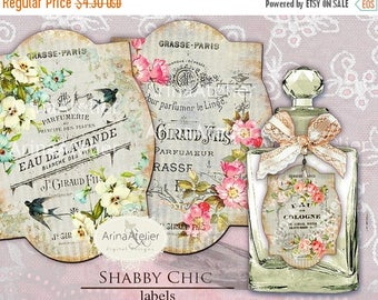 SALE - 30%OFF - LABELS Shabby Chic - Parfume Labels - Apothecary Labels - Vintage Tag Parfume - Collage Digital Labels - Collage french Labe