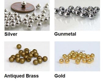 Half-Drilled End Round Bead Caps 3mm 20 Pcs Ur PICK Tips for Memory Wires Silver Gold Antiqued Brass Gunmetal