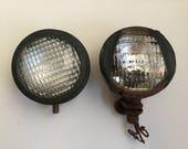 Pair of Vintage Metal Headlights Lights Tractor