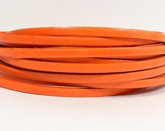 Summer Sale - 25% off Tangerine - 5mm Flat Italian Dolce Leather - L5F-D3 - Choose Your length