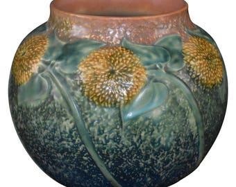 Roseville Pottery Sunflower Bulbous Vase 489-7