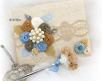 Wedding Guest Book, Taupe, Dusty Blue, Gold, Ivory, Bridal Shower, Anniversary, Graduation, Signature Book, Pen, Pearls, Vintage Style