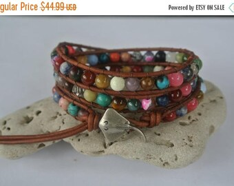 50% OFF SALE Stingray Gemstone  Beaded Leather Wrap Bracelet