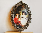 Vintage Brass Ornate Made in Italy Oval Frame with Baroque Painting of Children and Dog