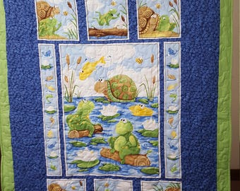 Turtles, Frogs, Snails and Fishes Cuddle Quilt