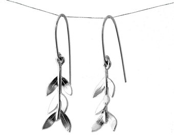 Olive Leaf Branch Earrings - Sterling Silver Drop Earrings - Gift for Her | Botanical Jewellery Gift
