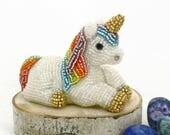Unicorn Figurine Miniature Beaded Rainbow Magic Woodland Fantasy Fairytale Gift  *READY TO SHIP