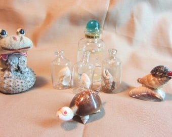 Sea Shell Miniatures, Lot Hand Made Sea Shell Creations, Souviners, Sea Shell Lot, Animals Created from Shells, Souviner Lot Trinket Shells