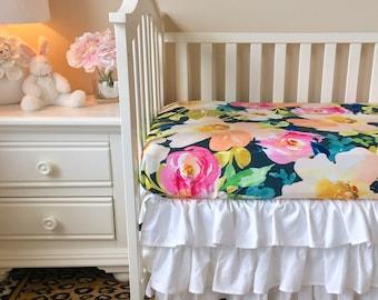 floral knit bumperless bedding crisp white bumperless crib bedding navy watercolor floral baby bedding