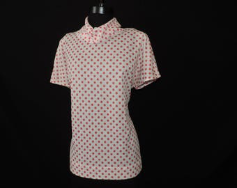 pink polka dot blouse 1970s cowl neck tunic short sleeve plus size dotted droopy neck top 1X 2X