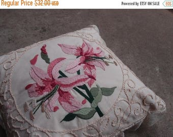 SALE SALE SALE Vintage Pillow Embroidered Floral Lillies Pink Green Cream Lace Handstitched Gorgeous Cottage Chic Home Decor