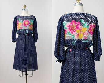 Vintage Bold Floral Dress - 1980s Sheer Navy Blue Diamond Polka Dot Dress - Yellow + Pink Floral Lilies & Honeysuckle - S