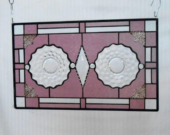 Vintage Fostoria American Stained Glass Panel, Depression Glass Plate Window Treatment, Antique Stained Glass Window Transom, OOAK Valance