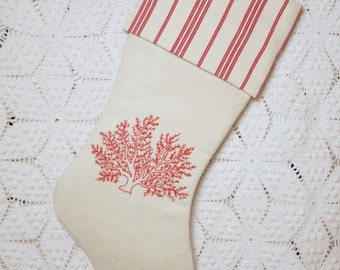 Coastal Stocking | Sea Coral Redwork Embroidery — Vintage French Linen and Vintage French Ticking
