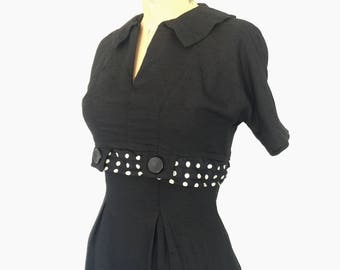1940s Black Wiggle Dress Vintage 1950s Polka Dot Pencil Dress XS/S