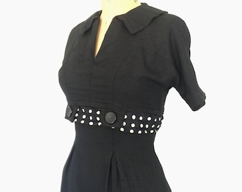 1940s Dress Black Wiggle Dress Vintage 1950s Polka Dot Pencil Dress XS/S