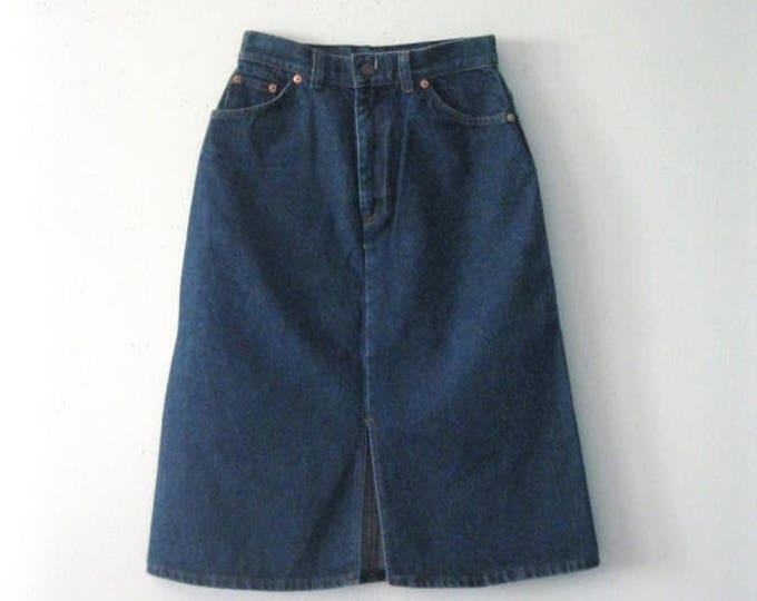 WINTER SALE Vintage 80s Levi's denim skirt / orange tab Levis straight line Hipster Boho jean skirt
