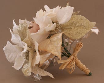 Rose Gold and Cream Poinsettia and Hydrangea Bouquet - Artificial Flowers, Silk Flower Bouquet, Christmas