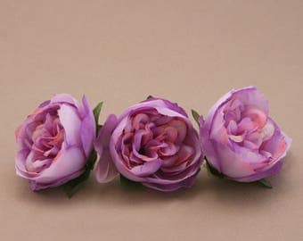 3 Small LAVENDER PINK Cabbage Peonies  - Artificial Flower Heads
