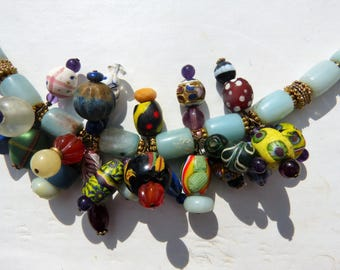 Antique Venetian Beads Dangle Necklace , Amazonite Necklace, Artsy, Colorful, African Trade Beads