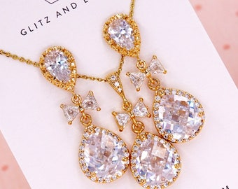 Gold Luxe Cubic Zirconia Teardrop Earrings - bridal shower gifts, champagne yellow gold wedding jewelry, bridesmaid bride, Tie the knot, bow