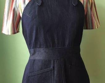 1930s 30s 1940s 40s vintage style  work denim overalls sample sale  M