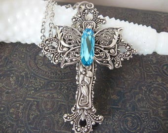 Silver Crystal Butterfly Cross Necklace - N218