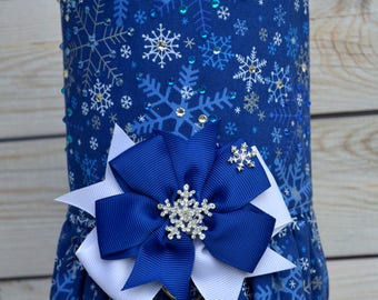Dog Harness Vest - Winter Dog Dress - Snowflake - Blue - Christmas - Small Dog - Large Dog - Gifts for Dogs