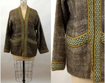 1960s coat boho hippie coat blanket coat zip front brown green ethnic tweed wool Size M/L