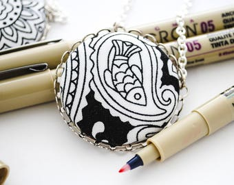 Adult Coloring Book Necklace - Color Your Own Necklace - Fabric Button Pendant