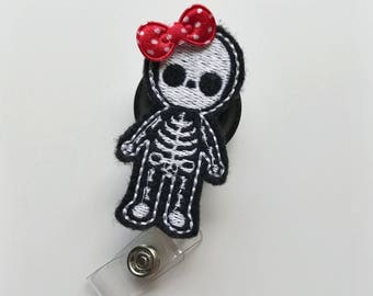 nurse badge reel, doctor badge reel, retractable badge, medical badge reel, X-ray badge clip, radiologist gift, skeleton badge reel