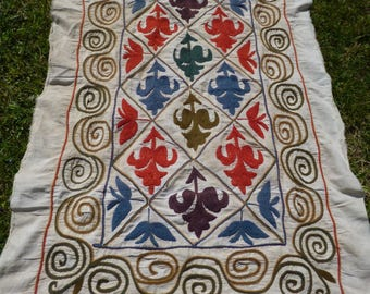 """Smaller Embroidered Bukhara Fleur de Lis 4 ft 3"""" x 4 ft 2"""" 130 x 81 cm Throw/Fabric/ Cushion Cover/Wall hanging."""