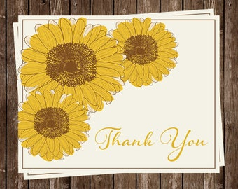 Sunflower Thank You Cards, Wedding Thank You Notes, Gray and Yellow Set of 24 Printed Cards and Envelopes, Free Shipping