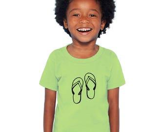 Flip Flop Shirt For Kids, Sandal Shirt, Short Sleeved Cotton Crewneck, Hand Printed Summer Vacation flipflop Sandal Beach Vacation Tee Shirt