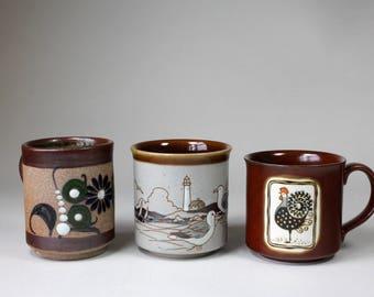 Vintage Mugs Earthtone Seagull Rooster Flowers Otagiri Mexico Mixed Set 3 Mugs 1980s