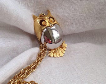 Alice Caviness Owl Necklace Silver and Gold Tone Metal