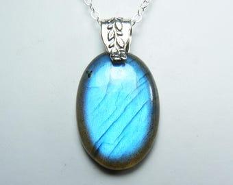 Gorgeous Labradorite Necklace, Super Flashy Luminous Labradorite Pendant, Vibrant Intense Cornflower Blue & Sky Blue Flash, Sterling Silver
