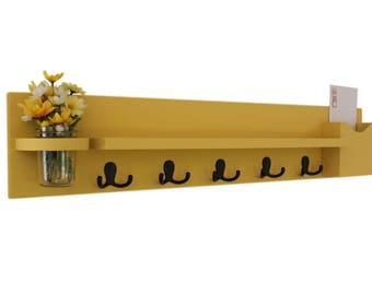 Coat Rack Shelf with Mail Holder - Coat Hooks - Jar Vase - Painted Wood Shelf - Wild Wheat