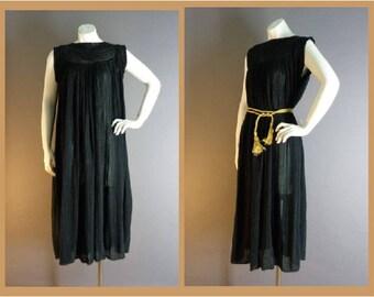 1970s vintage dress 70s BLACK INDIA GAUZE crochet hippie hippy festival beach boho dress