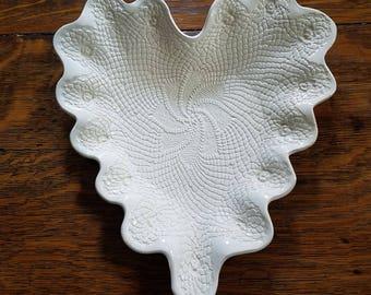 Picket Fences Pressed Lace Doily Ceramic Heart Dish