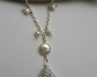 Soft blue sea glass and freshwater pearl necklace