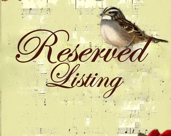 Reserved Listing for Triciajwilson