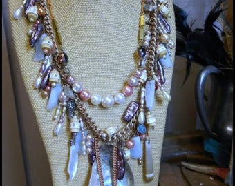 The Lost Lorelei Necklace Biwa stick pearl shark bone Sea Urchin Antique Sterling Abalone knife Aquamarine Shell Baubles
