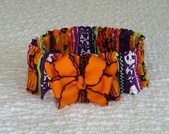 "Pet Bandana, Dog Collar, Halloween Monster Stripes Dog Scrunchie - orange and black bow - Size L: 16"" to 18"" neck"