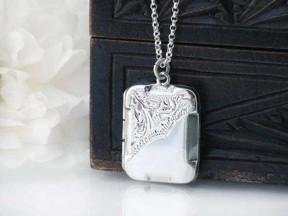 Antique Locket | Sterling Silver Locket Necklace | Hand Chased 925 Silver Rectangle Locket | Vintage Silver Photo Locket - 20 Inch Chain