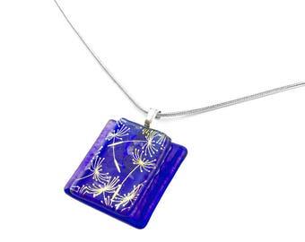 Pendant Necklace, Gold Dandelions, Royal Blue Art Glass