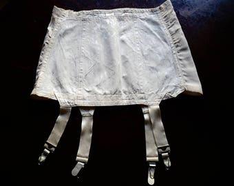 1960s White Cream Cotton Rayon Garter Belt Girdle by Gracies Size 26 Waist