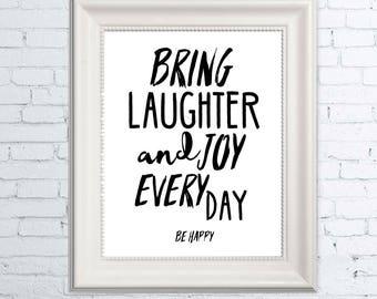 Wall Art Print, Laughter and Joy Art Print, Inspirational Art